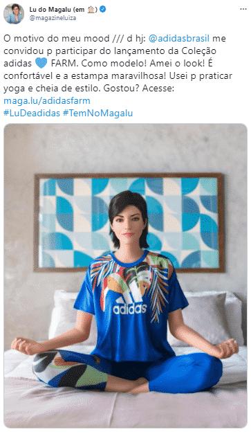 Post da Lu do Magalu no Twitter, com foto da ação da adidas brasil.